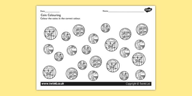Coin Colouring Worksheet - coins, money, numeracy, maths, colour