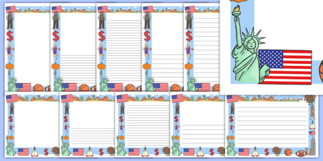 America Themed Page Borders - america themes, america, USA, South America, English, page borders, border, writing template, writing aid, writing, page border, theme, american
