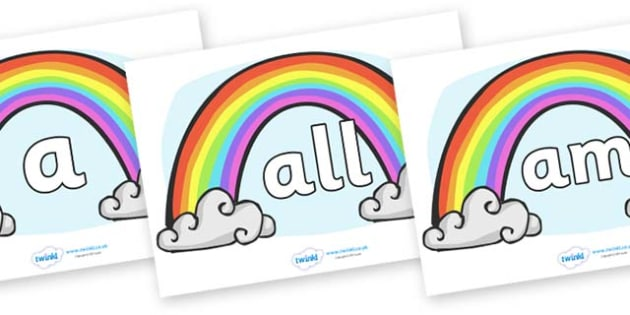 Foundation Stage 2 Keywords on Rainbows - FS2, CLL, keywords, Communication language and literacy,  Display, Key words, high frequency words, foundation stage literacy, DfES Letters and Sounds, Letters and Sounds, spelling