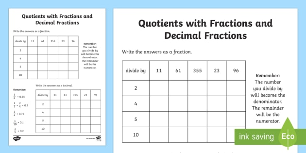 Quotients with Fractions and Decimal Fractions Worksheet - quotients, fractions, decimals, fractions and decimals, numeracy, numbers, fractions worksheet