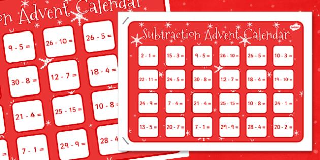 Subtraction Advent Calendar - advent, christmas, subtraction