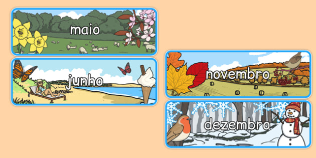 Months of the Year With Seasons Theme Display Posters Portuguese - portuguese, months, year