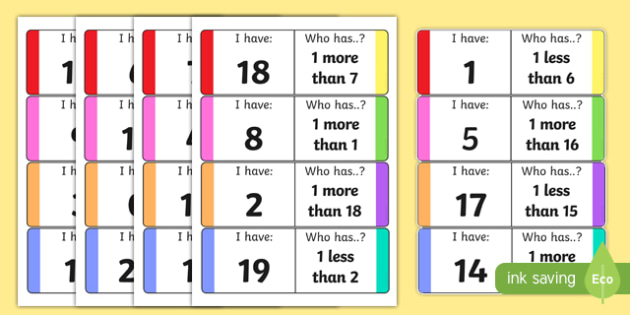 One More One Less Loop Cards - counting, counting aid, games, One more, one less, counting, loop cards, numbers to 20