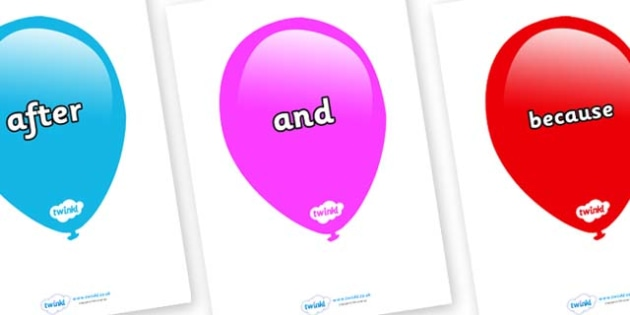 Connectives on Balloons (Multicolour) - Connectives, VCOP, connective resources, connectives display words, connective displays
