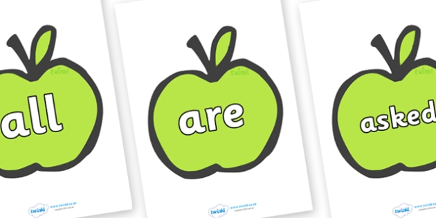 Tricky Words on Apples - Tricky words, DfES Letters and Sounds, Letters and sounds, display, words