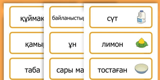 Pancake Day Recipe Word Cards - australia, pancake, day, cards - Kazakh