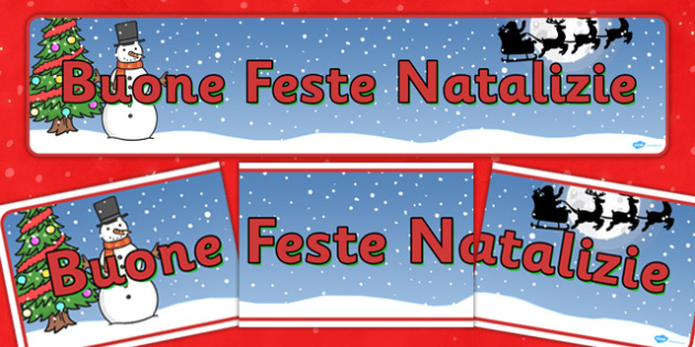 Christmas Display Banner (Italian) - Christmas, xmas, Italian, Italy, display banner, Santa, Father Christmas, tree, advent, nativity, santa, father christmas, Jesus, tree, stocking, present, activity, cracker, angel, snowman, advent , bauble
