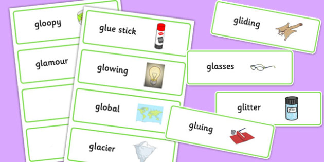 Two Syllable GL Word Cards - sen, sound, gl sound, gl,  two syllable, word cards