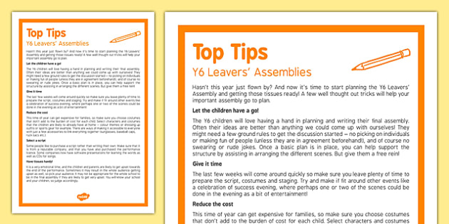 Top Tips for Y6 Leavers' Assemblies