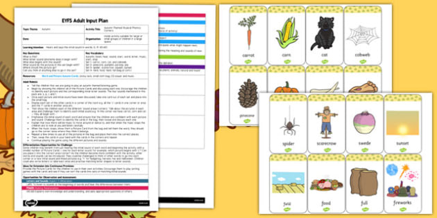 Autumn Themed Musical Phonics Corners EYFS Adult Input Plan and Resource Pack