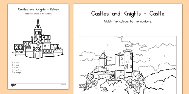 Castles and Knights Colour by Numbers - australia, colour, number