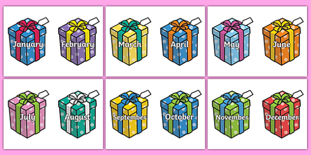 Months of the Year on Birthday Presents - Months poster, Months display, Months of the year, birthdays, presents