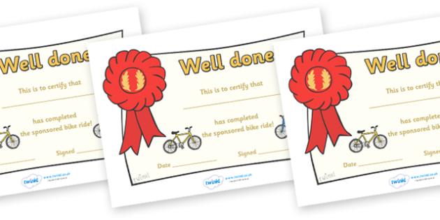 Sponsored Bike Ride Certificate - certificate, award, bike ride, sponsored, well done, reward, medal, rewards, school, general, certificate, achievement