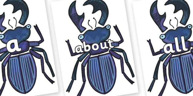 100 High Frequency Words on Stag Beetle to Support Teaching on The Bad Tempered Ladybird - High frequency words, hfw, DfES Letters and Sounds, Letters and Sounds, display words