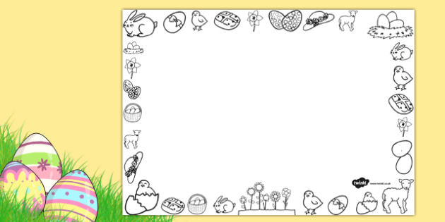 Easter Page Borders Full Landscape Black and White - easter