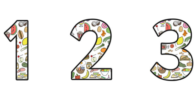 Food Themed Display Numbers (2 per A4) - food numbers, food themed numbers, food display numbers, food, food numbers for display, 2 per page food numbers