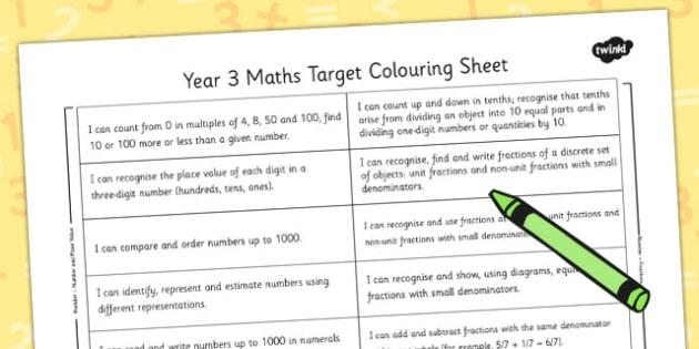 2014 Curriculum Year 3 Maths Target Colouring Sheet - numeracy
