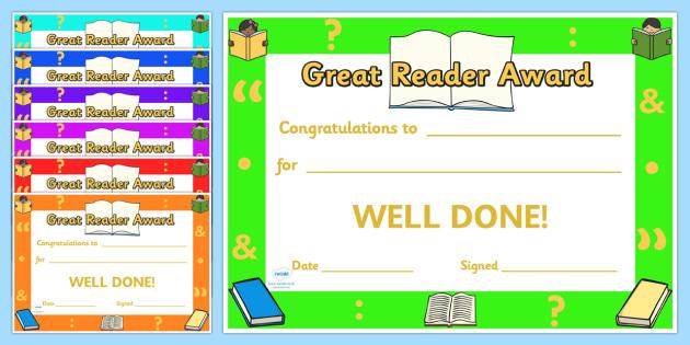 Great Reader Award Certificates - great reader award certificates, great reader, reader, reading, certificates, award, well done, reward, medal, rewards, school, general, certificate, achievement
