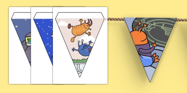 Display Bunting to Support Teaching on Aliens Love Underpants - aliens love underpants, display bunting, bunting for display, themed bunting, bunting, bunting for display