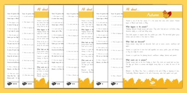 Autumn Differentiated Comprehension Activity Sheets - autumn, weather, comprehension, worksheet