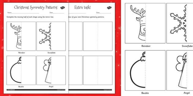 Christmas Symmetry Worksheet - christmas, symmetry, patterns