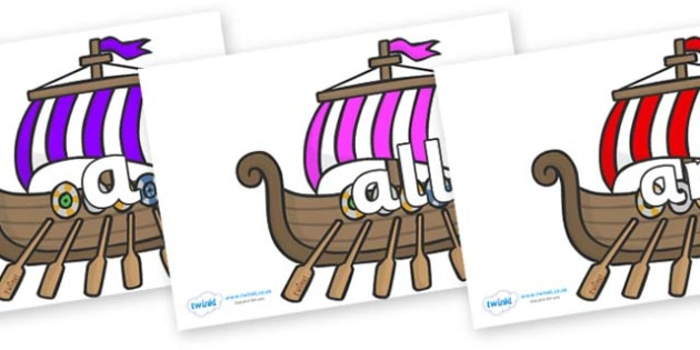 Foundation Stage 2 Keywords on Viking Longboats - FS2, CLL, keywords, Communication language and literacy,  Display, Key words, high frequency words, foundation stage literacy, DfES Letters and Sounds, Letters and Sounds, spelling