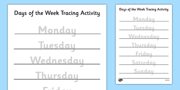 Days of the Week Tracing Activity - days of the week, days, week, tracing, activity