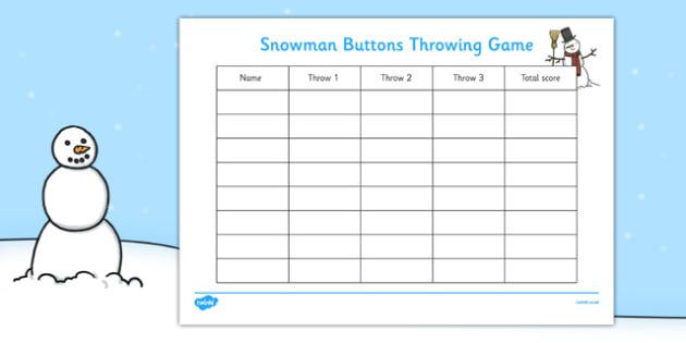 Snowman Buttons Throwing Game Score Sheet - EYFS, Early Years, winter, PD, Physical Development