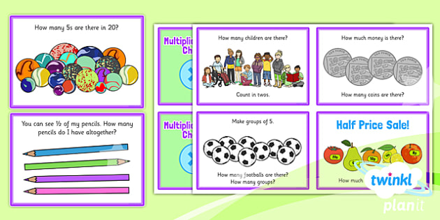 PlanIt Y1 Multiplication and Division Challenge Cards - applying, arrays, word problems, maths challenge, problem solving, fast finisher, maths puzzles, reasoning, fluency, deeper learning, using and applying