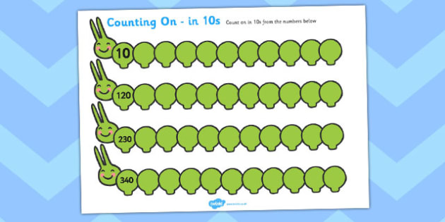 Counting On Worksheets Caterpillar (in 10s) - Counting worksheet, Counting, counting in 10s, activity, how many, foundation numeracy, Counting on, Counting back, caterpillar