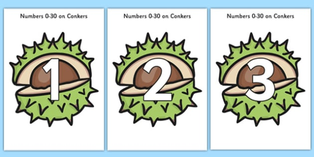 Numbers 0-30 on Conkers - numbers, conkers, 0-30, numeracy, maths, display