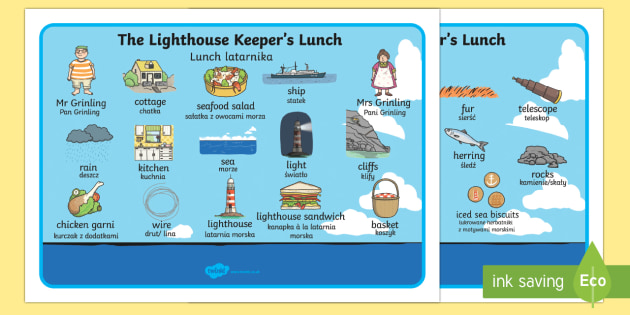 Word Mat to Support Teaching on The Lighthouse Keeper's Lunch English/Polish