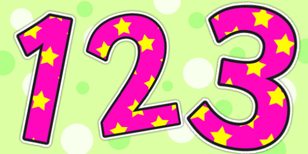 Pink and Yellow Stars Small Display Numbers - stars, numbers