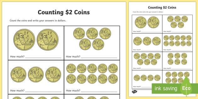 Counting $2 Coins Activity Sheet