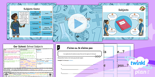 PlanIt French Year 3 Our School 3: School Subjects Lesson Pack