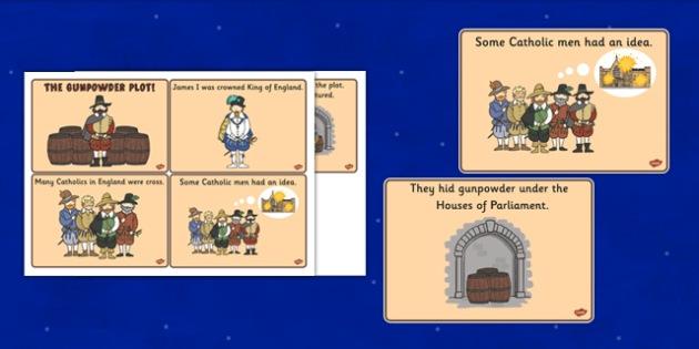 The Gunpowder Plot Sequencing (4 per A4) - Story, Bonfire night, Guy Fawkes, bonfire, Houses of Parliament, plot, treason, fireworks, Catholic, Protestant, James I