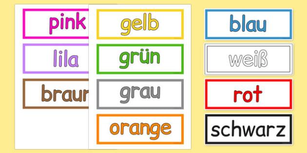 Colours Vocabulary Cards German - german, colours, vocabulary, cards