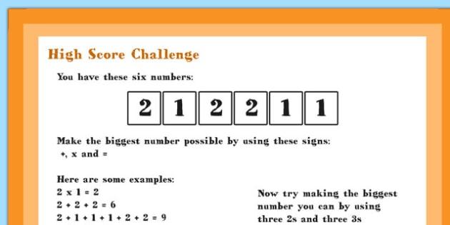 A4 KS1 High Score Maths Challenge Poster - Maths, Challenge