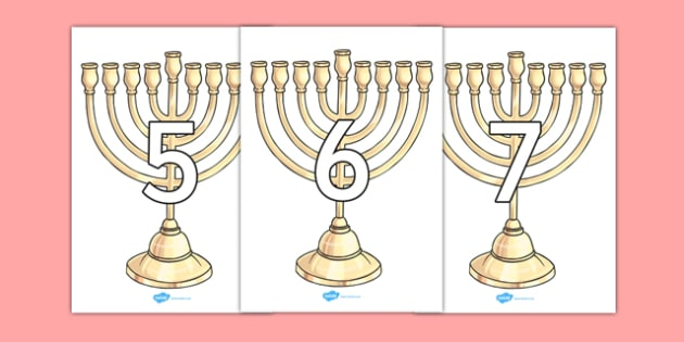 Numbers 0-10 on Menorahs - numbers, 0-10, menorah, judaism, hanukkah