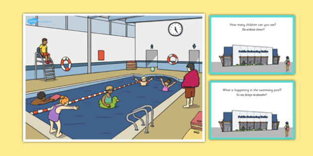 Swimming Pool Scene and Question Cards Polish Translation - polish, question, cards, scene