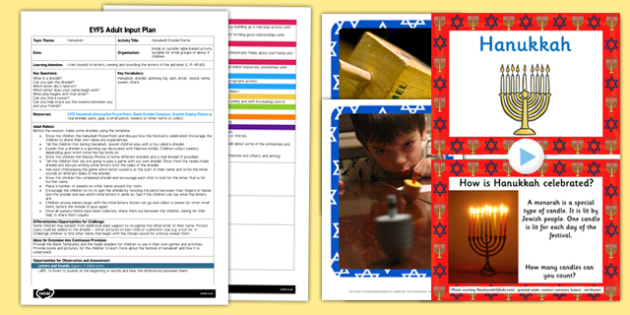 Hanukkah Dreidel Game EYFS Adult Input Plan and Resource Pack