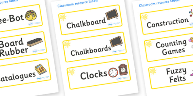Yellow Themed Editable Additional Classroom Resource Labels - Themed Label template, Resource Label, Name Labels, Editable Labels, Drawer Labels, KS1 Labels, Foundation Labels, Foundation Stage Labels, Teaching Labels, Resource Labels, Tray Labels, P