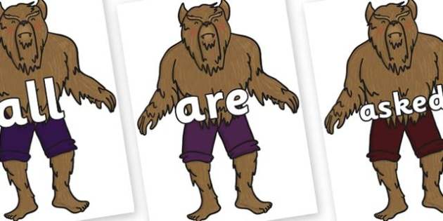 Tricky Words on Beast - Tricky words, DfES Letters and Sounds, Letters and sounds, display, words