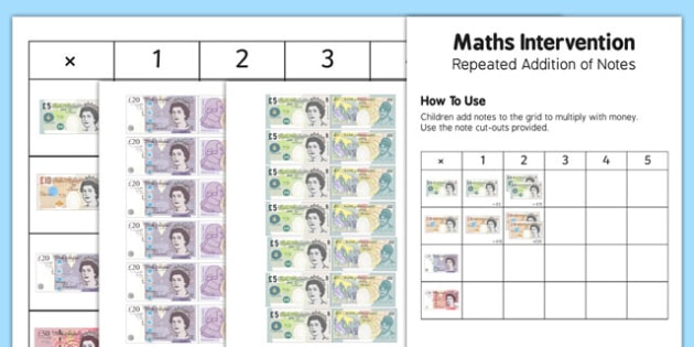 Maths Intervention Addition of Notes Grid - SEN, special needs, maths, money, counting money, recognising money, adding money, coins, notes