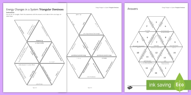 Energy Changes Tarsia Triangular Dominoes - tarsia, gcse, physics, energy, energy changes, energy transfer, joule, joules, power, specific heat