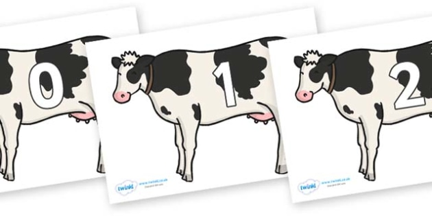 Numbers 0-31 on Cows - 0-31, foundation stage numeracy, Number recognition, Number flashcards, counting, number frieze, Display numbers, number posters