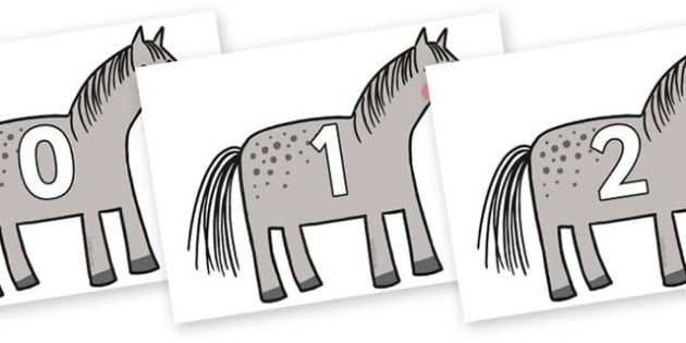 Numbers 0-31 on Horse to Support Teaching on What the Ladybird Heard - 0-31, foundation stage numeracy, Number recognition, Number flashcards, counting, number frieze, Display numbers, number posters