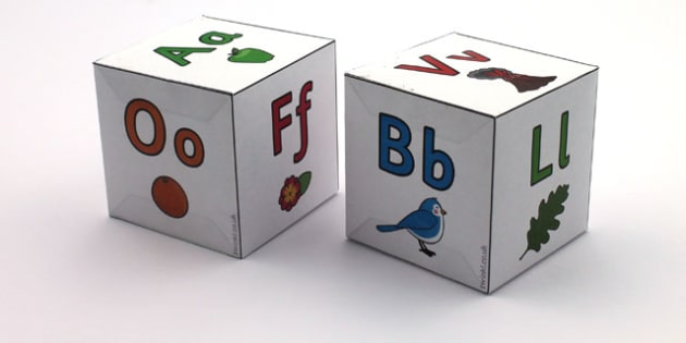 Alphabet Letters Dice Nets Set - a-z, alphabet, visual aid, literacy
