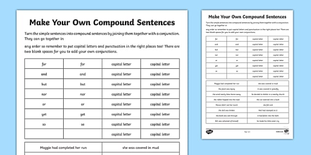 Make Your Own Compound Sentences Cards- compound sentences, complex sentences, improving writing, sentences, editing, SEN, MLD, KS3, structure
