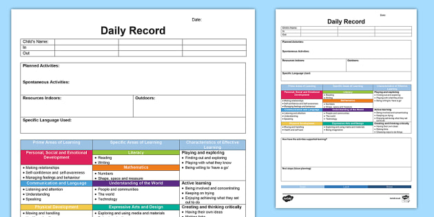 EYFS Daily Diary - Retrospective Planning Template - planning, assessment, EYFS, child minding, childminder, planning in the moment, spontaneous, records